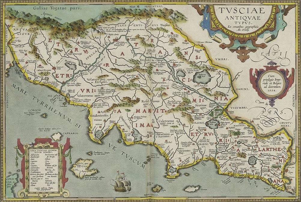 Map of ancient Tuscia by Abraham Ortelius. Theatrum Orbis Terrarum. London, 1606